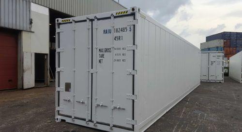 Gebrauchte Kühlcontainer kaufen Verkauf in 40 Fuss High Cube Ausführung in der Heckansicht