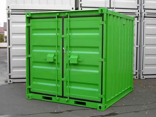 10´- Lagercontainer fabrikneu RAL 6018 Gelbgrün - ausgestattet mit kompletter Einbruchsicherung