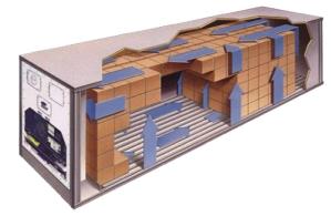 Schema der Luftzirkulation in Kühl-, Tiefkühl- und Gefriercontainern